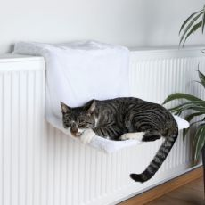 Pelech pro kočky na radiátor, bílý plyš - 45 x 24 x 31
