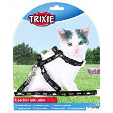 Postroj a vodítko pro koťata s motivem, černý