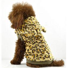 Kožich pro psy - leopard s kapucí, zlatá, XXL