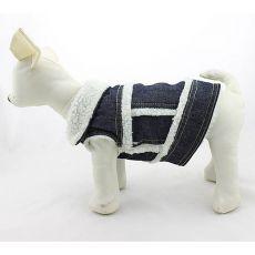 Riflová vesta pro psa - bílá kožešinka, S