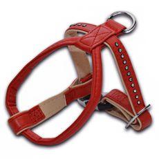 Postroj s kamínky pro psa, červený - 1,5x25x30 cm