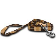 Nylonové vodítko pro psa - kárované hnědé, 2 x 120 cm