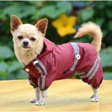 Pláštěnka pro psa reflexní - tmavá bordó, XS