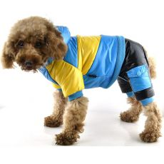 Bunda pro psa - žluto-modrá, XS