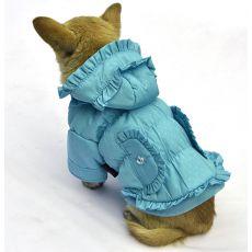 Bunda pro psa - puntíkovaná, modrá, S