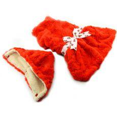 Svetřík pro psy - oranžový s kapucí a mašličkou - S