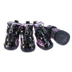 Boty pro psy - leopardí lesklé - růžové, M