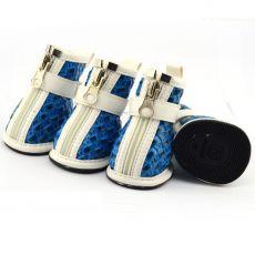 Boty pro psy - proplétaný vzor - modré, XL