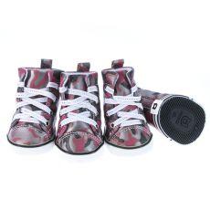 Boty pro psy - maskáčové červené, L