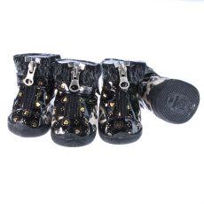 Boty pro psy - leopardí s kožešinkou - béžové, L