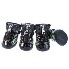 Boty pro psy - leopardí s kožešinkou - zelené, L