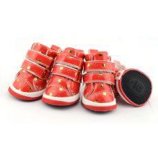 Boty pro psy - červené se srdíčky, suchý zip, L