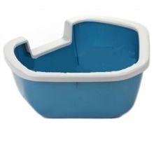 Rohová toaleta pro kočky DAMA - modrá - 57,5 x 51,5 x 22 cm