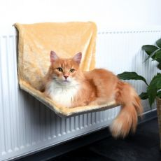 Pelech pro kočky na radiátor, béžový plyš – 48 x 26 x 30 cm