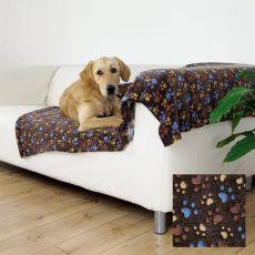 Deka pro psy LASLO - hnědá s tlapkami, 150 x 100 cm