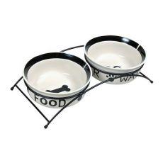 Dvě keramické misky se stojanem - 2 x 0,6 l